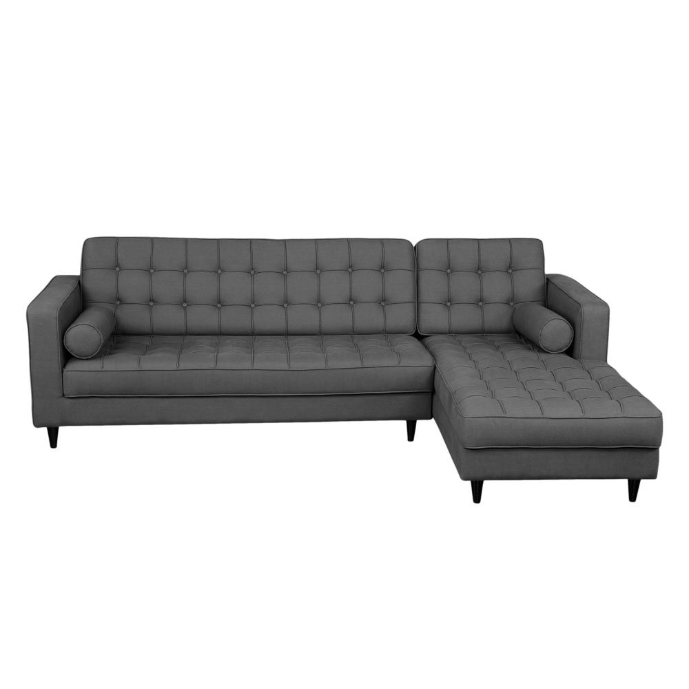 Romano sectional dark grey right more decor for Abanos furniture industries decoration llc