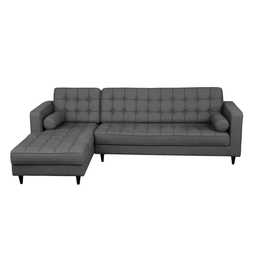 Romano sectional dark grey left more decor for Abanos furniture industries decoration llc