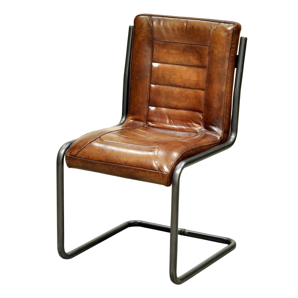 Carl Leather Side Chair More Decor